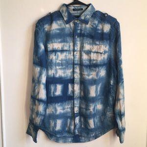 Sean John Hand Dyed 100% Linen Button Up Shirt